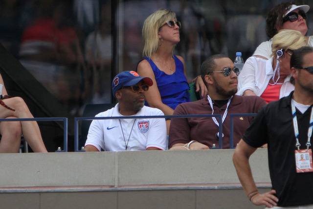 Spike Lee taking in some of the action on Day 8 in Arthur Ashe Stadium.