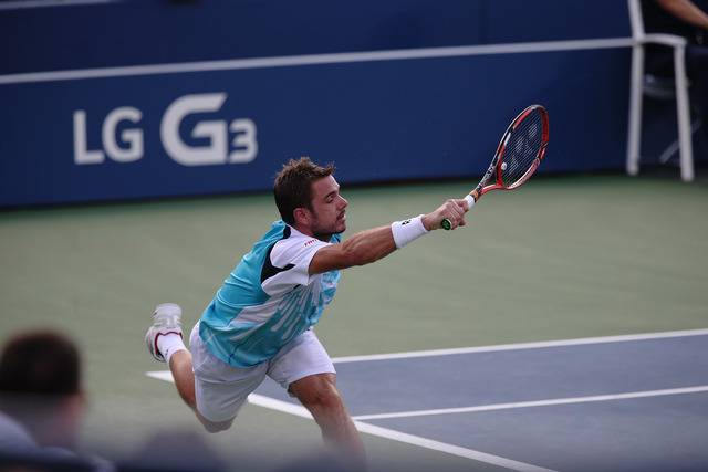 Stan Wawrinka in action against Tommy Robredo during their fourth-round match in Louis Armstrong Stadium.