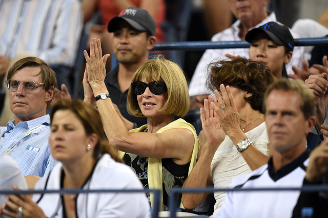 Anna Wintour during the men's fourth-round match between Roger Federer and Roberto Bautista Agut.