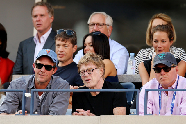 Robert Redford attends the women's singles final match between Serena Williams and Caroline Wozniacki.