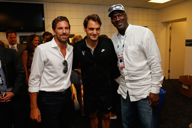NY Ranger Henrik Lundqvist, Roger Federer and Michael Jordan on Day 2 of the 2014 US Open.