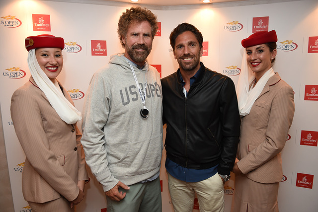 Will Ferrell and Henrik Lundqvist during Day 5 of the 2014 US Open.