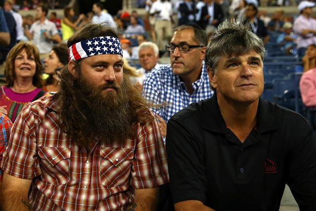 Duck Dynasty Willie Robertson and Fox News Channel's Sean Hannity attend Day 11 of the 2014 US Open.City.