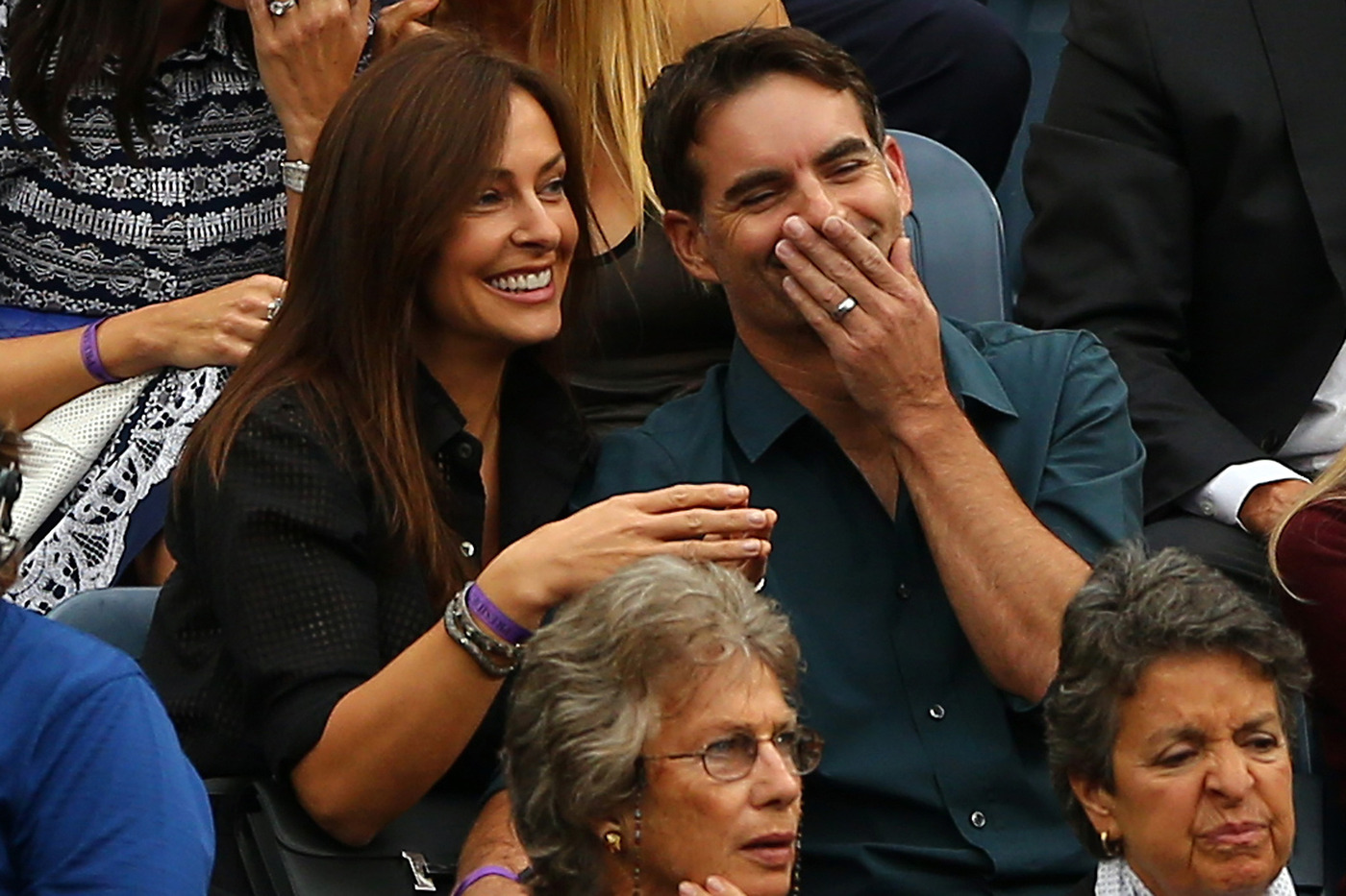 stars of the open photo gallery video and photos 2014 us getty images nascar driver jeff gordon r and his wife ingrid vandebosch l watch david schwimmer during the 2014 us open men s final between