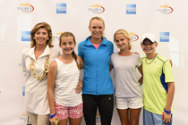 Caroline Wozniacki meets fans during a Q&A session at the US Open American Express Fan Experience.