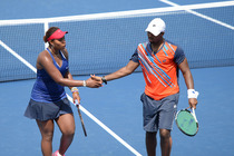 Taylor Townsend and Donald Young battle on Court 17 on Day 8 of the Open.