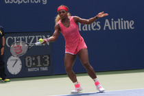 Top seed Serena Williams in action against Kaia Kanepi on Day 8 in Arthur Ashe Stadium.