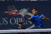 Bulgaria's Grigor Dimitrov, seeded seventh, battles Gael Monfils, the 20th seed, on Day 9 in Arthur Ashe Stadium.