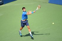 Grigor Dimitrov in action in Arthur Ashe Stadium on Day 9 of the Open.