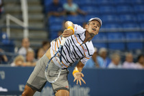 Tomas Berdych in action in the fourth-round on Day 9 of the 2014 US Open.