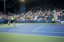 David Marrero and Fernando Verdasco during a quarterfinal match against Bob and Mike Bryan in Louis Armstrong Stadium.