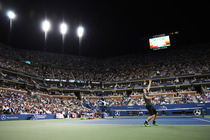 Andy Murray during his quarterfinal match against Novak Djokovic in Arthur Ashe Stadium.
