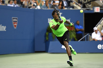 Gael Monfils during his quarterfinal match against Roger Federer in Arthur Ashe Stadium.
