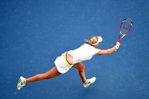 Ekaterina Makarova during her semifinal match against top seeded Serena Williams in Arthur Ashe Stadium.
