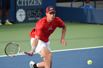 Peter Kobelt in action on Court 5 in the American Collegiate Invitational tournament.