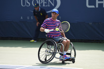 David Wagner of America in action on Court 7 in the wheelchair quad singles competition on Day 13 of the Open.