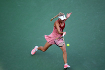 Caroline Wozniacki goes after a forehand during the Women's final at the 2014 US Open.