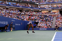 Defending champion Serena Williams during the Women's Final against Caroline Wozniacki at the 2014 US Open.
