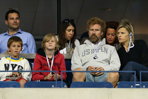 Actor Will Ferrell with is wife Viveca Paulin and their sons attend a match on Day Five of the 2014 US Open.