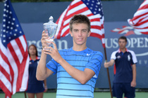 No. 4 seed Borna Coric defeated Thanasi Kokkinakis, 3-6, 6-3, 6-1, in the junior boys singles final on Day 14 of the 2013 US Open.