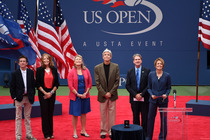 2014 Court of Champions Ceremony: Induction of Tony Trabert with USTA Chairman of the Board, President and CEO, Dave Haggerty, Trabert's son Mike, wife Diane, daughter Brooke and grandson Brick Dabkowski. Also present are Mary Carillo and Stan Smith.