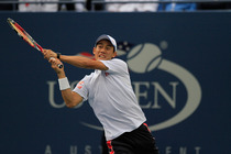 Kei Nishikori during the 2014 US Open men's final against Marin Cilic in Arthur Ashe Stadium.