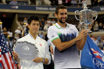 Marin Cilic and Kei Nishikori during the trophy presentation.