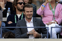 David Beckham watches Novak Djokovic play Rafael Nadal in the 2013 US Open men's singles final in Arthur Ashe Stadium.