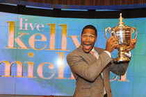 The US Open trophy visiting Live with Kelly and Michael in NYC.