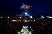 Fireworks exploded over Arthur Ashe Stadium during the Opening Night ceremony of the 2013 US Open.