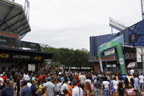 Crowds gather on the grounds of the USTA Billie Jean King National Tennis Center for Arthur Ashe Kids' Day.