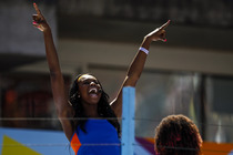 Coco Jones performs at the Arthur Ashe Kids' Day stadium Show during the US Open.