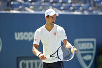 Novak Djokovic hits in Arthur Ashe Stadium on Sunday.