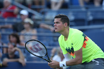 Canadian Milos Raonic in action on Day 1 of the 2014 US Open.