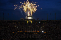 Fireworks go off during the Opening Night ceremonies of the 2013 US Open.