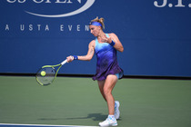 Svetlana Kuznetsova hits a forehand on Court 5 on Tuesday.
