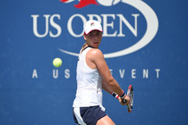 Marina Erakovic lines up a backhand in the first round of the 2014 US Open.