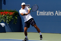 Maximo Gonzalez plays in his first round match on Day 2 of the US Open.