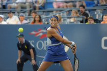 American Madison Keys defeats Jarmila Gajdosova in round 1 of the US Open.