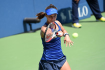 American Lauren Davis playing in her first round match of the US Open