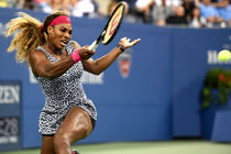 Serena Williams during her first-round match against Taylor Townsend on Arthur Ashe Stadium.