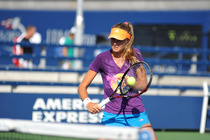 Daniela Hantuchova lines up a backhand volley during a practice session on Day 3.