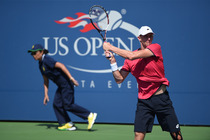 Kevin Anderson of South Africa in action on Court 17 on Day 3 of the 2014 US Open.