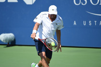 Uruguay's Pablo Cuevas connects with a backhand on Court 17 on Wednesday.