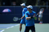 Andy Murray hits a few balls on the practice courts at the 2014 US Open.