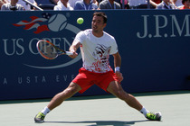 Croatia's Ivan Dodig in his first round match of the 2014 US Open.
