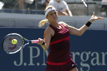 Anastasia Pavlyuchenkova, the No. 23 seed, connects on a forehand in her second-round match on Day 4 of the US Open.