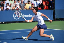 Carla Suarez Navarro in action in her second-round match on Day 4 of the US Open.