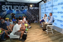 Martina Hingis takes part in a question-and-answer session with Mark Knowles in the Time Warner Cable Studios.