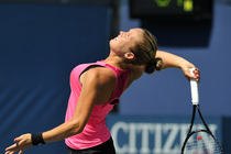 Shelby Rogers serving in her second-round match on Court 11 on Thursday during the 2014 US Open.